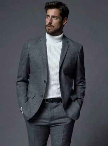 turtle neck outfit with suit style for men