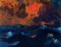 Sea with Red Sun, undated, 18 x 22.8cm, Nolde Stiftung Seebüll