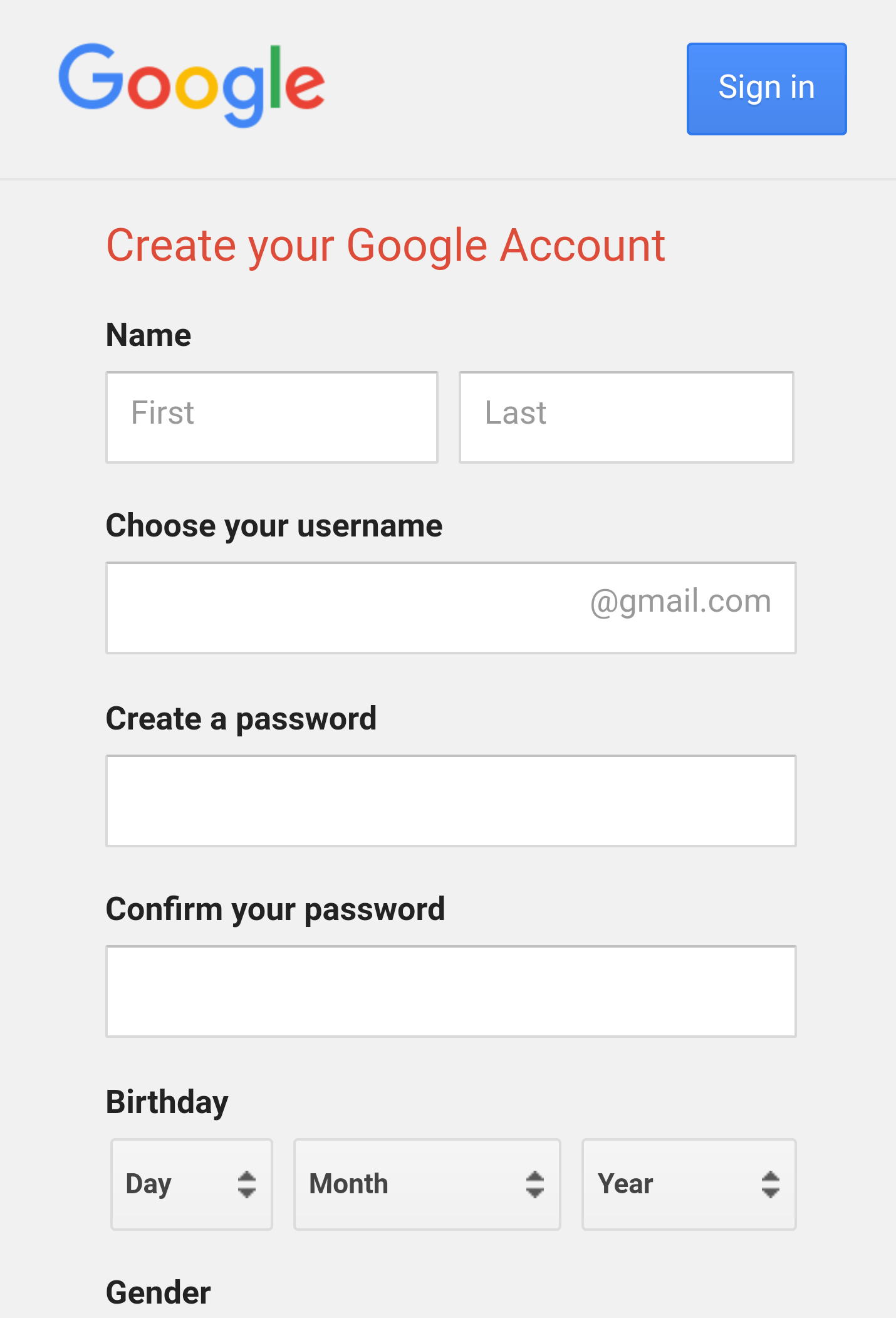 How to create a gmail account without using mobile number