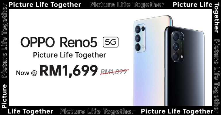 Bring Home The OPPO Reno5 5G with RM 200 Discounts