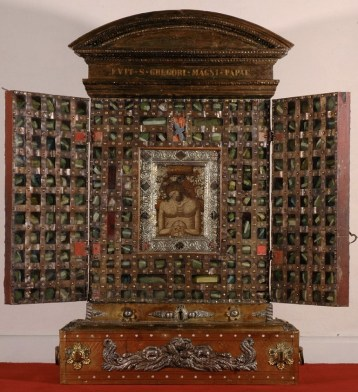 The Man of Sorrows Reliquary from Santa Croce in Gerusalemme, Rome, containing over 200 individual relics, each wrapped and labelled