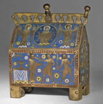 Limoges enamelled reliquary casket from c.1220 showing the Martyrdom of St Thomas Becket