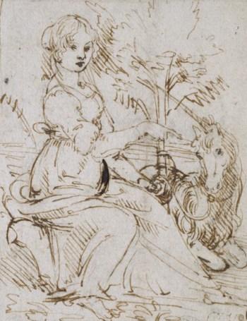 Leonardo, A maiden with a unicorn, Ashmolean, Oxford