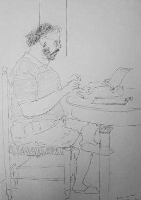David Hockney, Henry Writing, Lucca, Ashmolean, Oxford