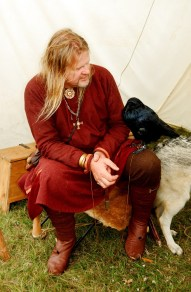 A Viking with his tame raven