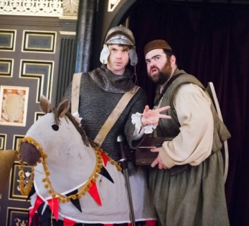 """""""Come, my loyal dwarf: with you and my noble steed, I can accomplish anything!"""" Rafe ((Matthew Needham) and George (Dean Nolan) with Rafe's horse"""