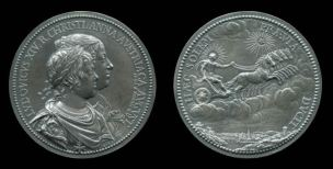Medal from 1643 showing Louis with Anne of Austria (obverse) and Louis as Apollo (reverse)