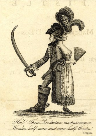 """Satirical print on the Chevalier d'Eon, """"Hail! Thou Production most uncommon..."""", 1778"""