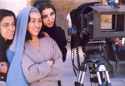 Marziyeh Makhmalbaf, Agheleh Rezaie and Samira Makhmalbaf checking the day's work