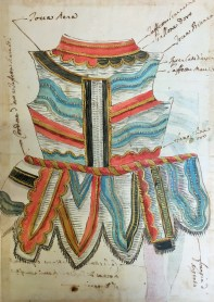 Florentine School, 1658, Deconstructed doublet based on costume designs by Stefano della Bella, with further costume notes and gold highlights, probably for Il Pazzo per Forza, British Museum, London