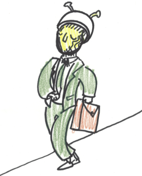 """""""There's a man in an all-green suit with a helmet carrying a tan briefcase walking eastbound toward the lake. Caller believes he's suspicious. He's a martian."""" Dav Yendler, Lady Puns"""