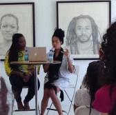 Shawanna Davis with Kenturah Davis during Artist Talk at Papillion Art Gallery