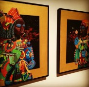 (L-R) Tears of Starlost Children (1977) and Child's Play (c. 1977) Mark Steven Greenfield acrylic on canvas