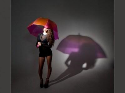 Fashion photographers glasgow model with coloured umbrella