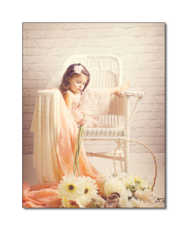 girl on antique white wicker lloyd loom chair with sunflowers sarah moon style