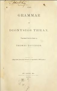 Dionysius_Thrax._Grammar._Davidson._1874._Portada