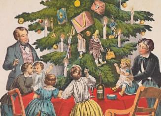 Gezin bij de kerstboom