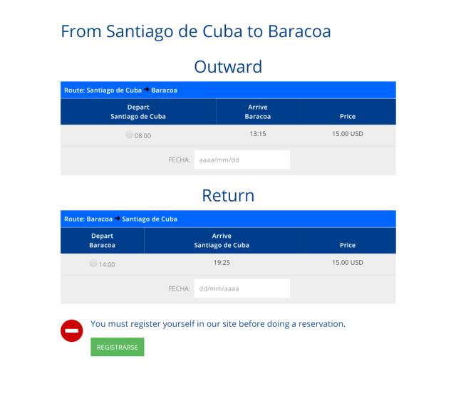 Bus Santiago de Cuba to Baracoa