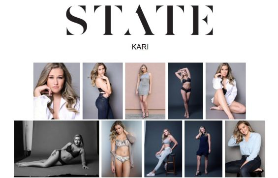 Example of a modeling agency online portfolio.