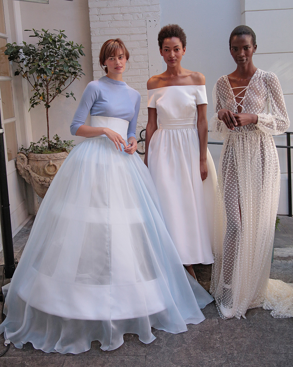 NEW YORK, NY - APRIL 18: Models pose wearing the Delphine Manivet Spring Summer 2017 Bridal Presentation on April 18, 2016 in New York City. (Photo by Randy Brooke/Getty Images for Delphine Manivet)