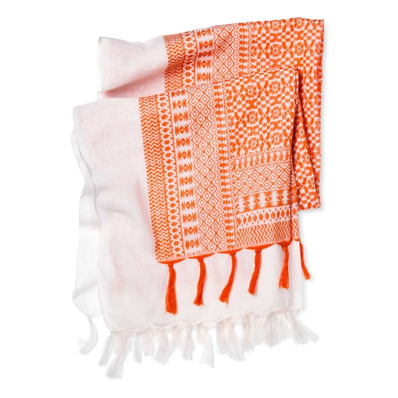 Accompany Us to Target Oversized Sarong Scarf Made in Nehtaur, India, in Coral