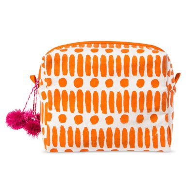 Accompany Us to Target Block Printed Cosmetic Bag Made in Jaipur, India in Orange