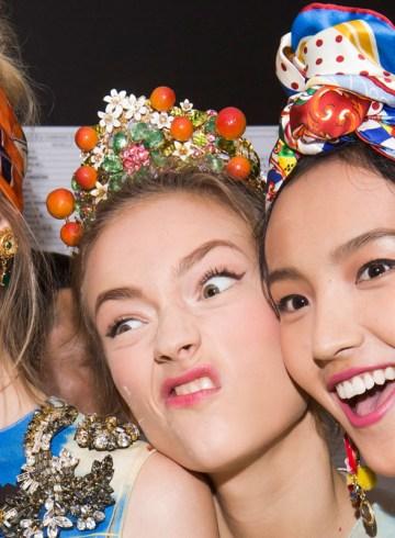dolce & gabbana spring 2016 fashion show backstage photo