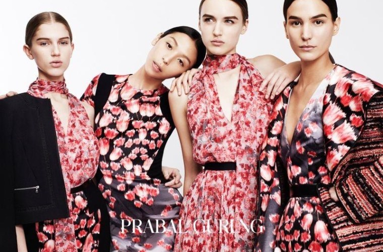 Prabal Gurung pre-fall ad Issa Lish, Mijo Mihaljcic, Sabina Lobova, Stasha Yatchuk