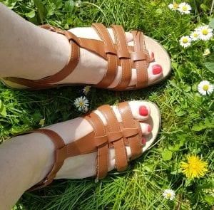 Pair of tan leather gladiator style sandals