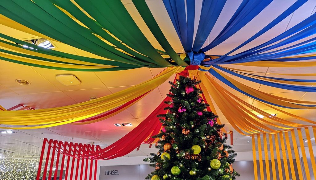 John Lewis Christmas Shop, rainbow tree, christmas rainbow, rainbow christmas decorations