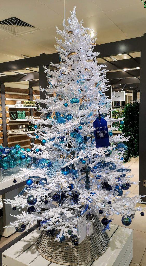 john lewis christmas tree, white christmas tree, blue decorations