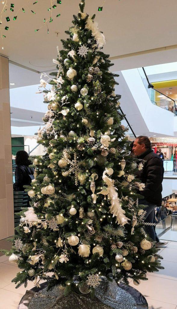 John Lewis Christmas Shop, feather christmas decorations, glass snowflake