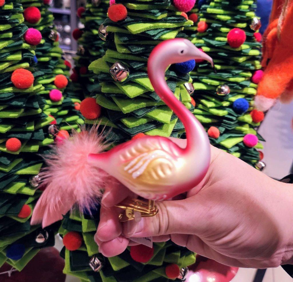 flamingo christmas decoration, john lewis christmas shop