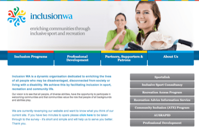 The Inclusion Club—Screenshot of Inclusion WA's website