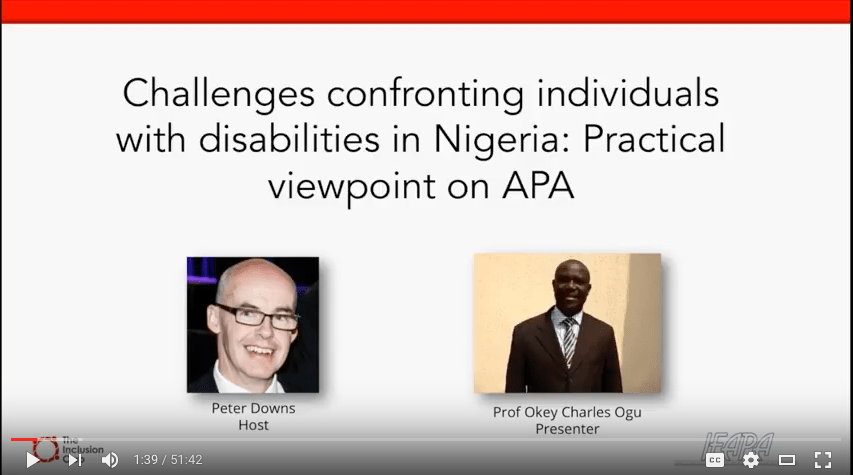 Challenges confronting individuals with disability in Nigeria: Practical viewpoint on APA