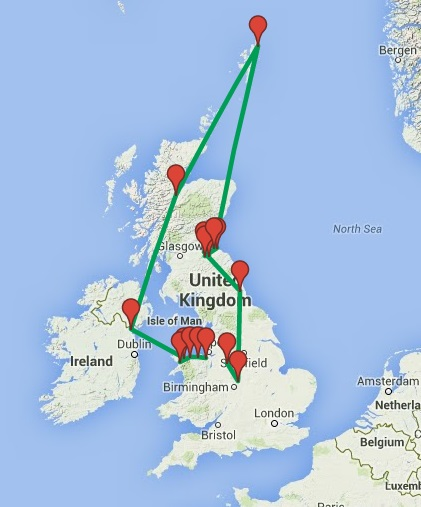 Map of our UK castle tour