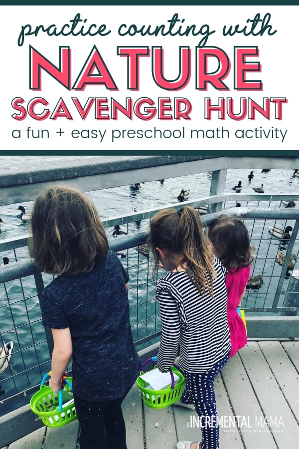 Make math fun with this easy nature scavenger hunt for young kids. This counting nature activity if perfect for preschools kids and yound children. #natureactivitiesforkids #preschoolmathactivity #funcountingactivity
