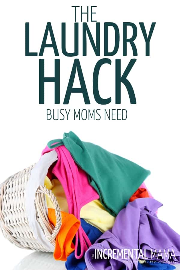 This laundry hack for busy moms will help you create a laundry routine that will have you spending less than 2 hours a week on laundry--even with big families. Saves time and keeps your house cleaner! #laundryhacks #laundryhacksforbusymoms #laundryroutineforbigfamilies