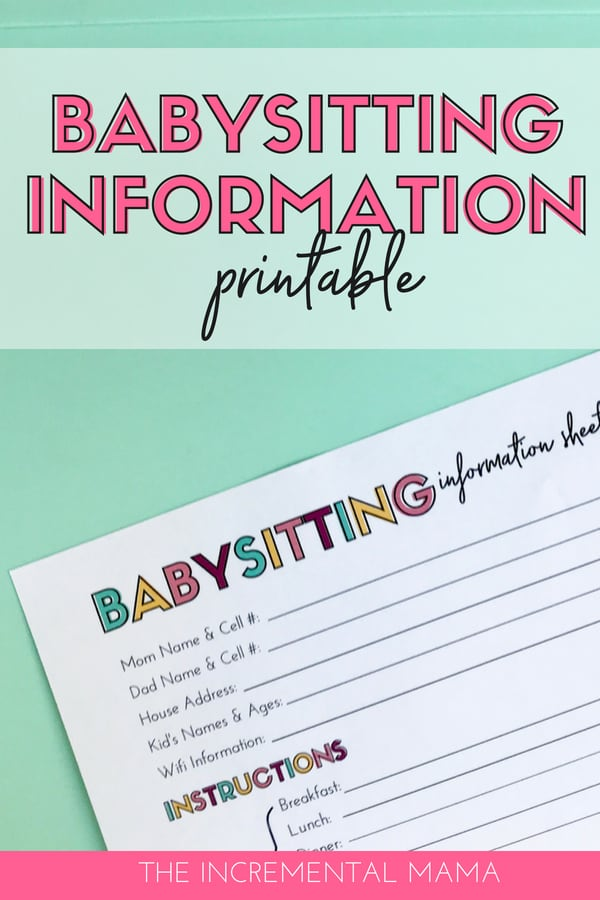 Download free babysitting information printable. This babysitter information sheet simplifies life and assures that you babysitter is prepared. #babysittingprintable #parenting #freeprintable