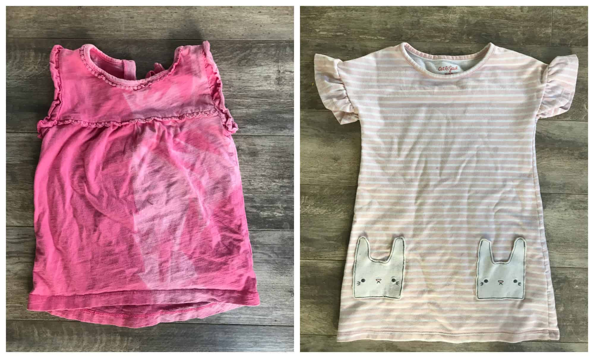 Dyeing stained kid's clothes--upcycle stained kid's clothes