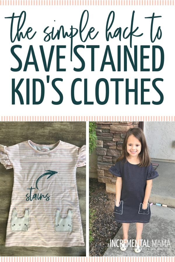 With 4 small kids, I've got piles of stained kid's clothes. But with this easy DIY hack with some RIT dye, you can save money and breathe new life into your kid's clothes! #stainedkidsclothes #upcyclestainedclothes #DIYkidsclothes #dyeclothes