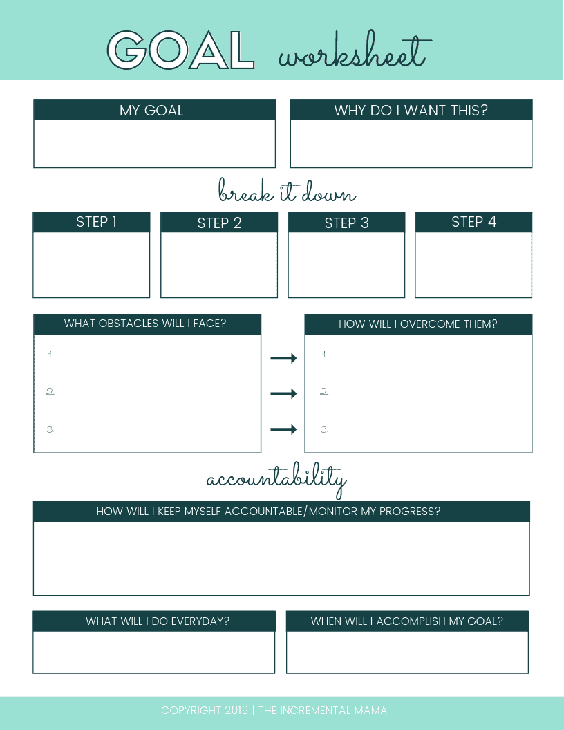 A free printable goal worksheet to create a goal setting plan to make you goals happen. Plus goal setting tips for adults that'll help you to change your life. #freeprintablegoalworksheet #goalsettingforadults #goalsettingprintable #newyears