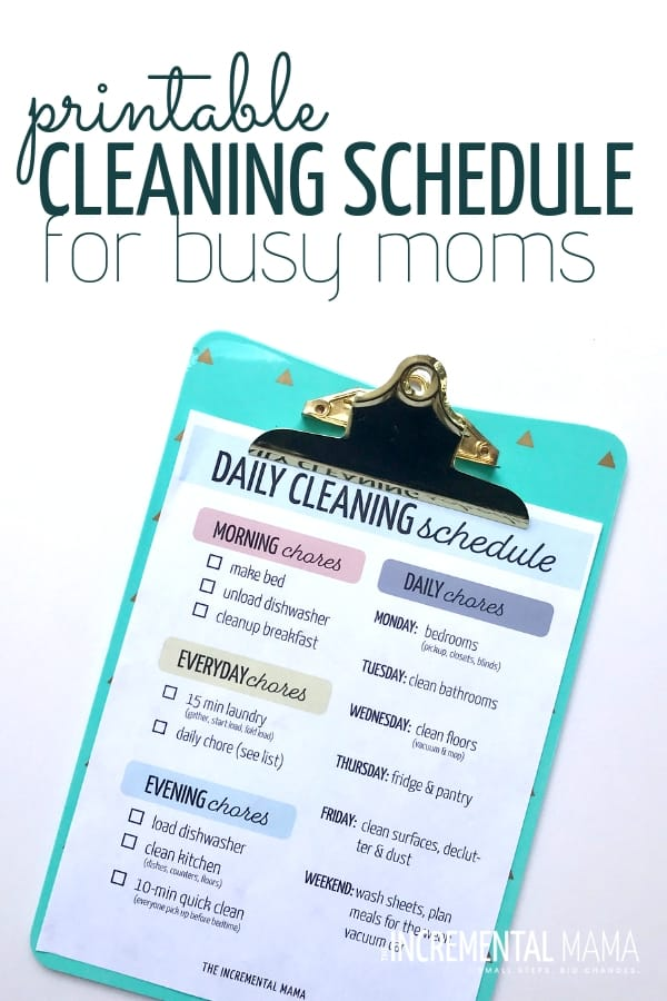 photograph about Printable Cleaning Schedule titled Basic Printable Cleansing Plan For Functioning Mothers