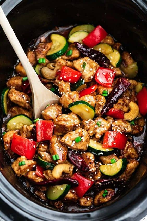 slow cooker low carb kung pao chicken