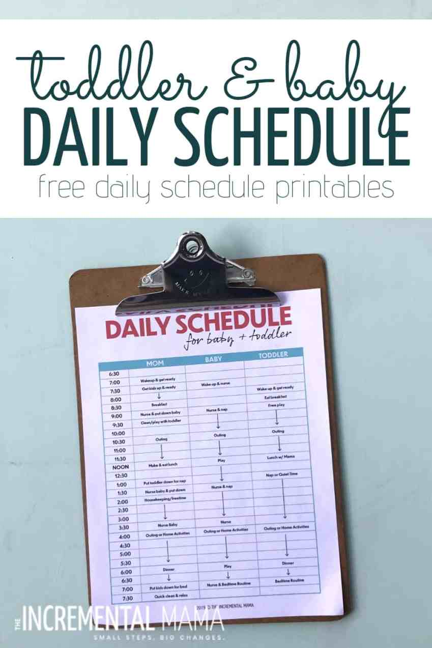 Stay sane and organized with a toddler and newborn schedule for stay at home moms (with free printable schedule template). Plus tips to get your toddler and baby on a schedule. #toddlerandnewbornschedule #toddlerbabyschedule