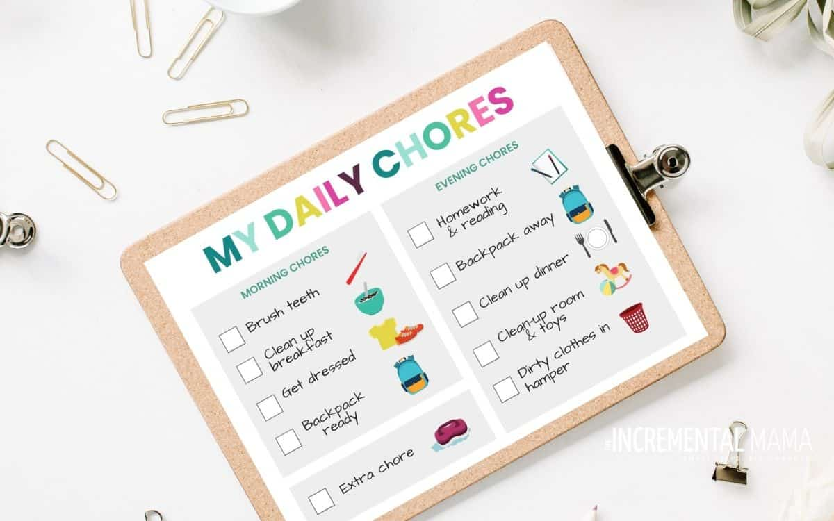 picture chore chart for kids