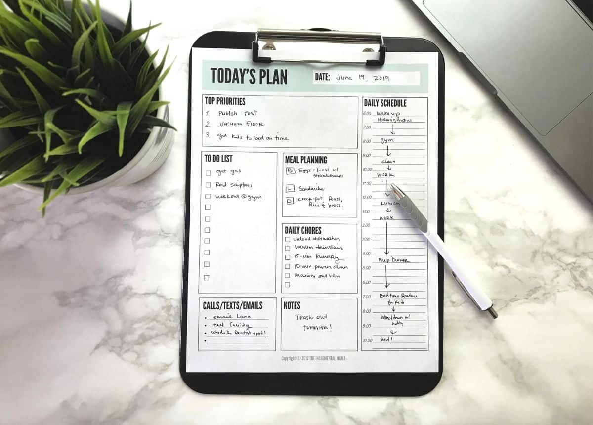 daily planner template pdf