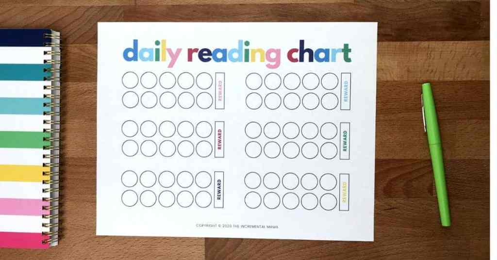 free printable reading reward chart for kids