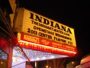 The illuminated sign of the Indiana Theater in Downtown Indiana on the evening of the Center's first film screening.