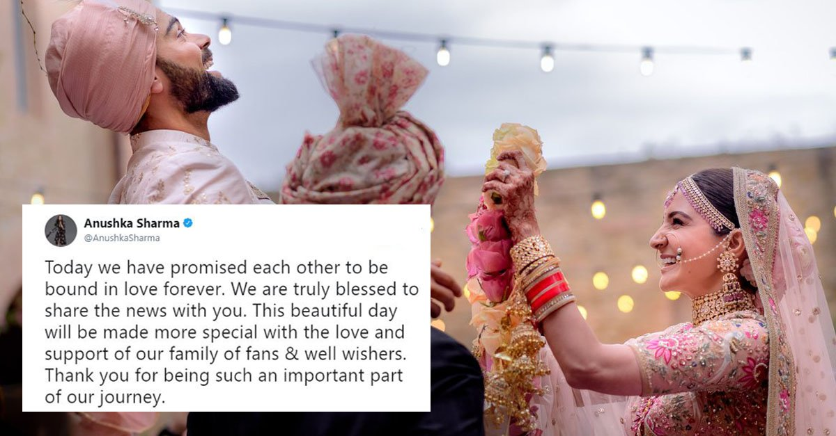 Virat Kohli & Anushka Sharma Share Wedding Photo On Twitter